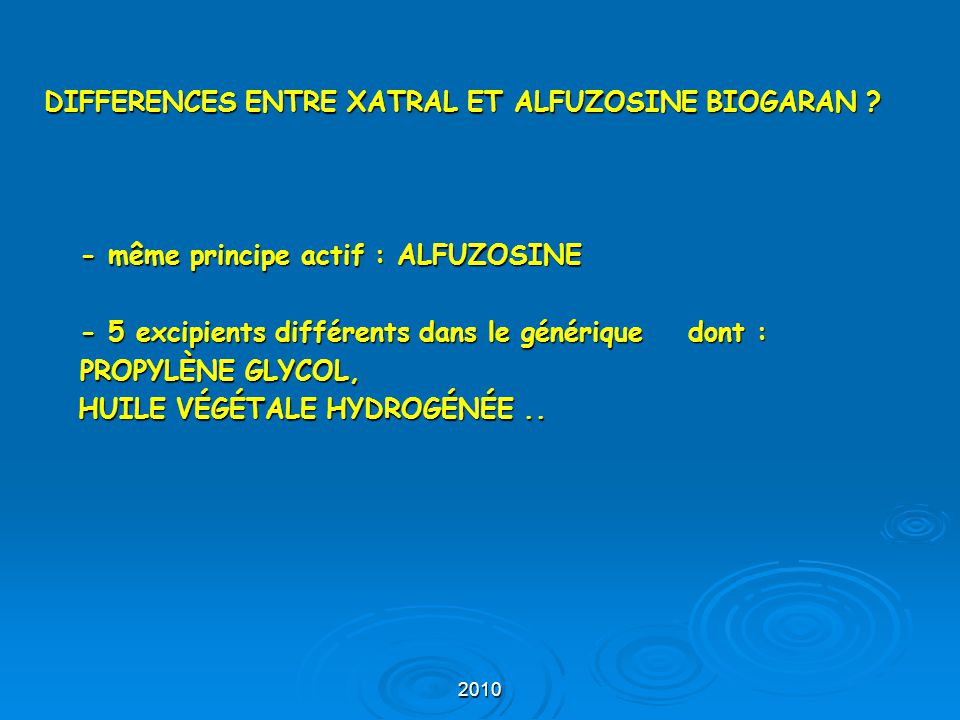 DIFFERENCES ENTRE XATRAL ET ALFUZOSINE BIOGARAN