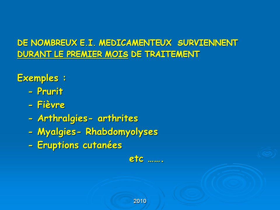 - Arthralgies- arthrites - Myalgies- Rhabdomyolyses