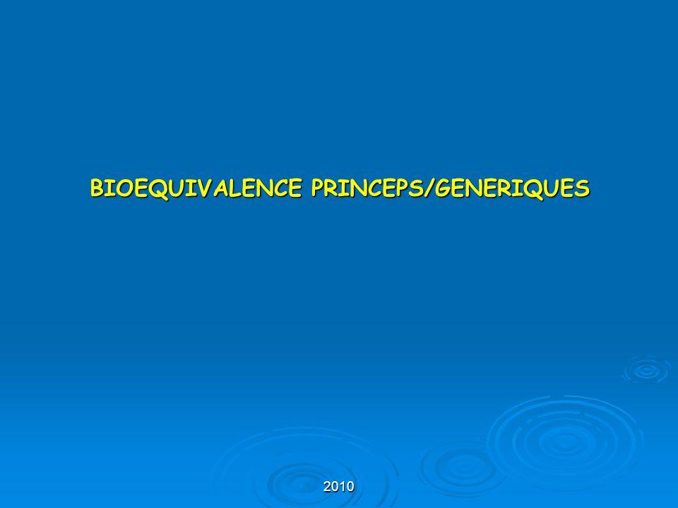 BIOEQUIVALENCE PRINCEPS/GENERIQUES