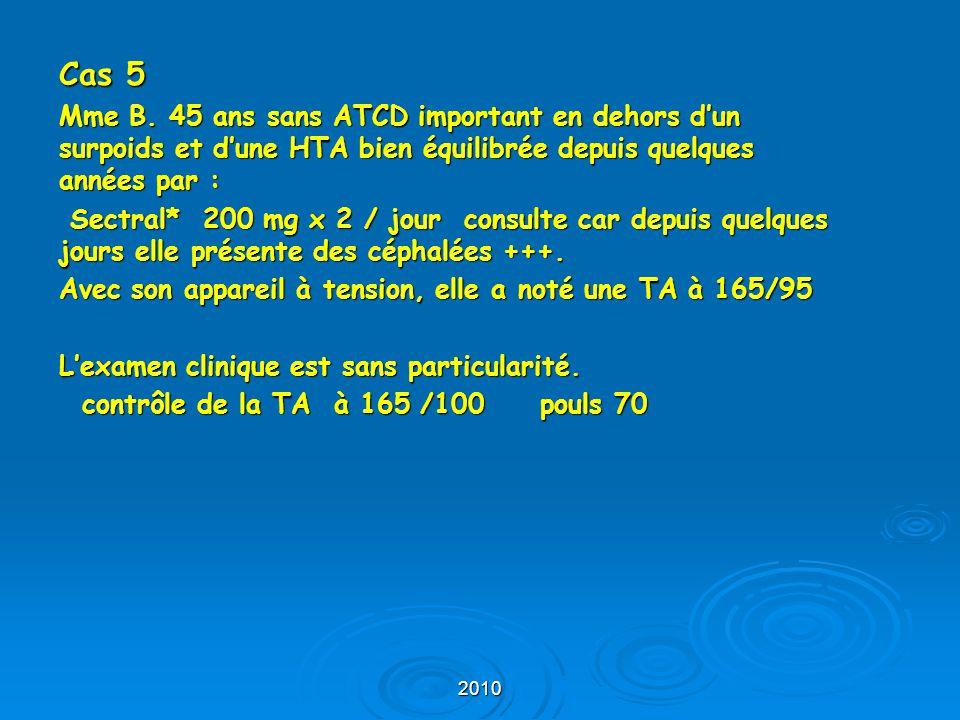 Cas 5 Mme B. 45 ans sans ATCD important en dehors d'un surpoids et d'une HTA bien équilibrée depuis quelques années par :