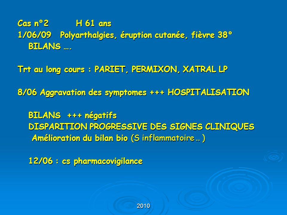 1/06/09 Polyarthalgies, éruption cutanée, fièvre 38° BILANS ….