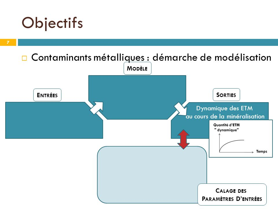 Objectifs Contaminants métalliques : démarche de modélisation Modèle