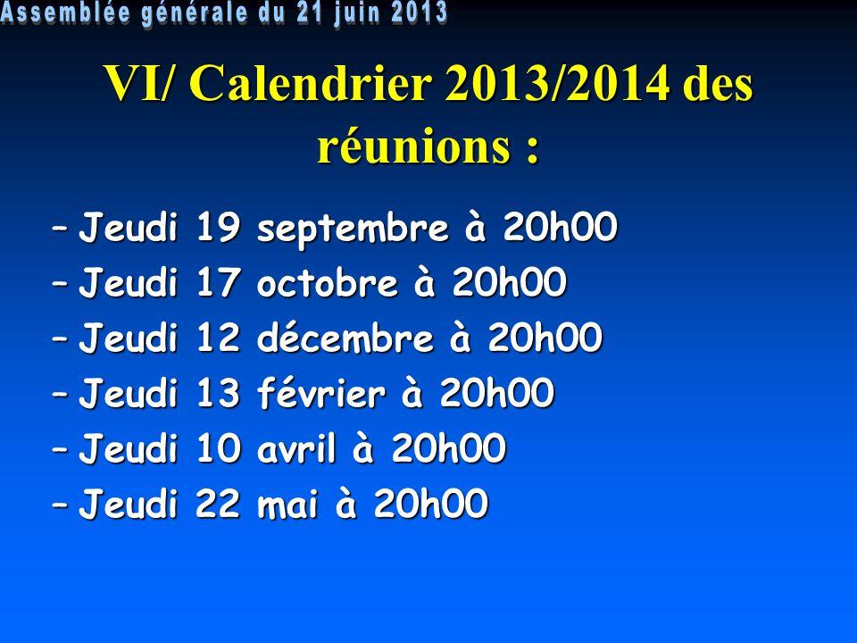 VI/ Calendrier 2013/2014 des réunions :