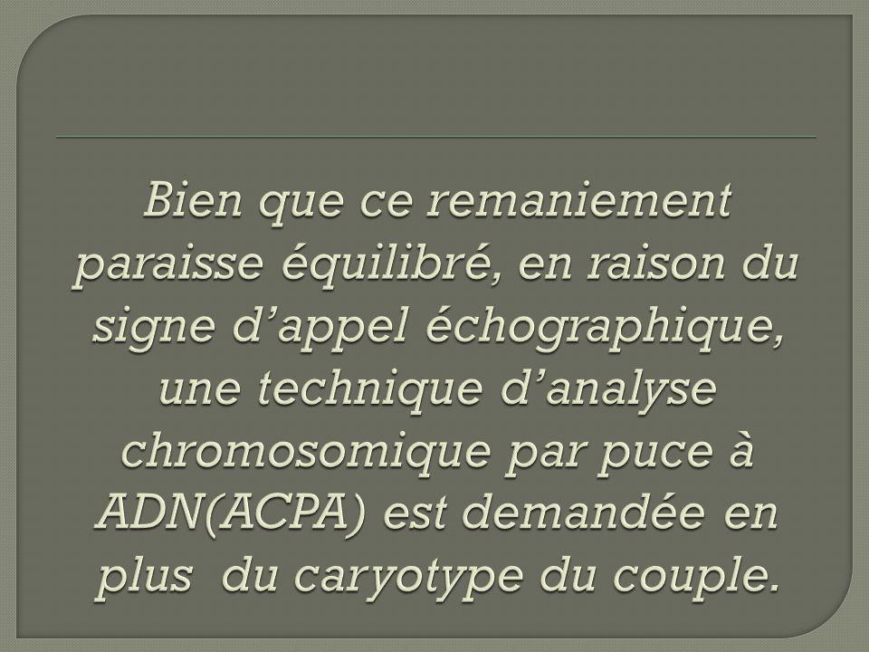 Bien que ce remaniement paraisse équilibré, en raison du signe d'appel échographique, une technique d'analyse chromosomique par puce à ADN(ACPA) est demandée en plus du caryotype du couple.