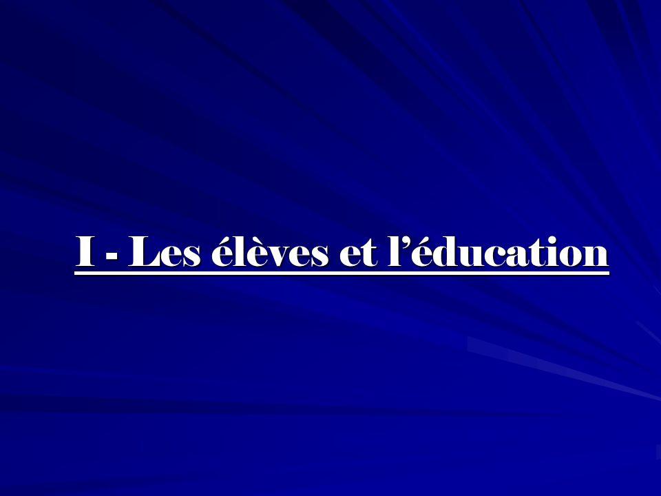 I - Les élèves et l'éducation