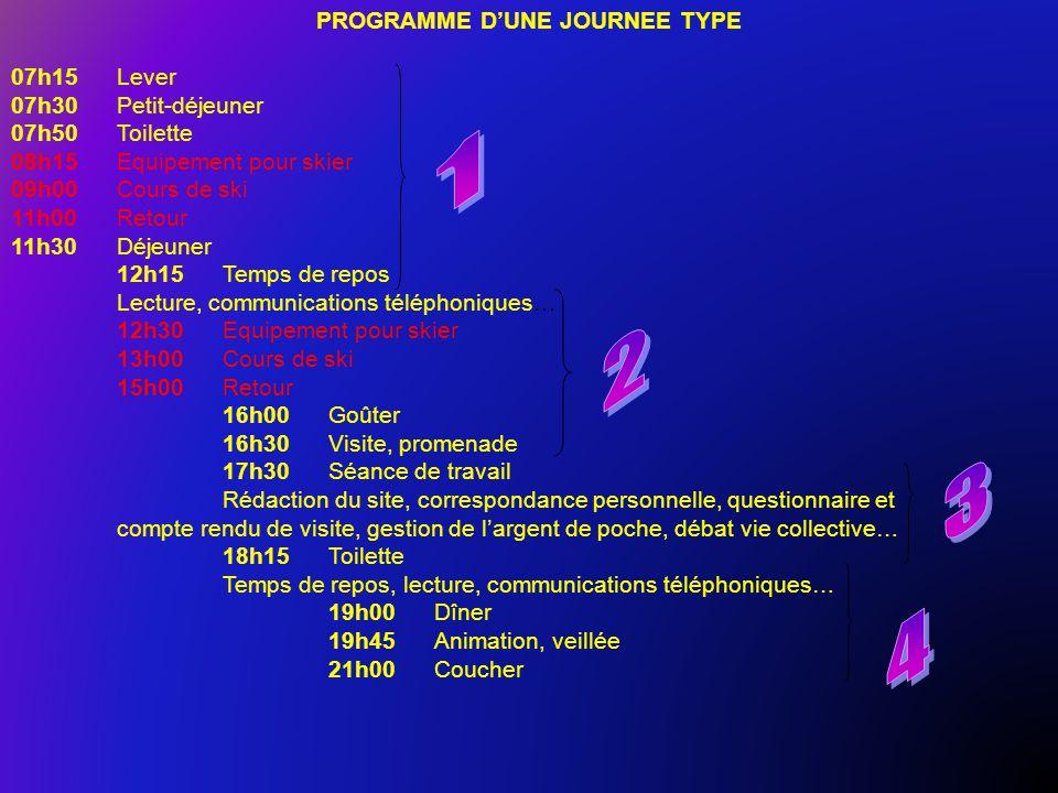 PROGRAMME D'UNE JOURNEE TYPE