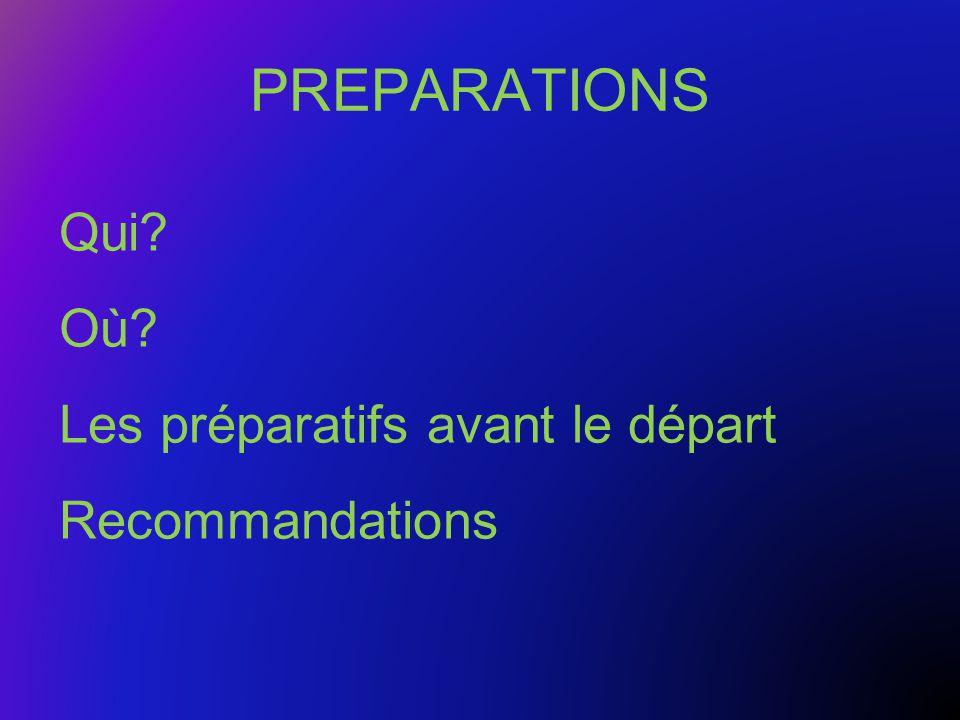 PREPARATIONS Qui Où Les préparatifs avant le départ Recommandations