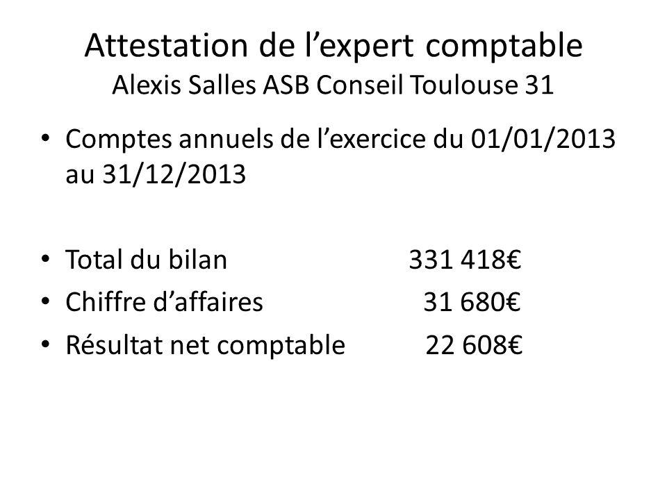 Attestation de l'expert comptable Alexis Salles ASB Conseil Toulouse 31