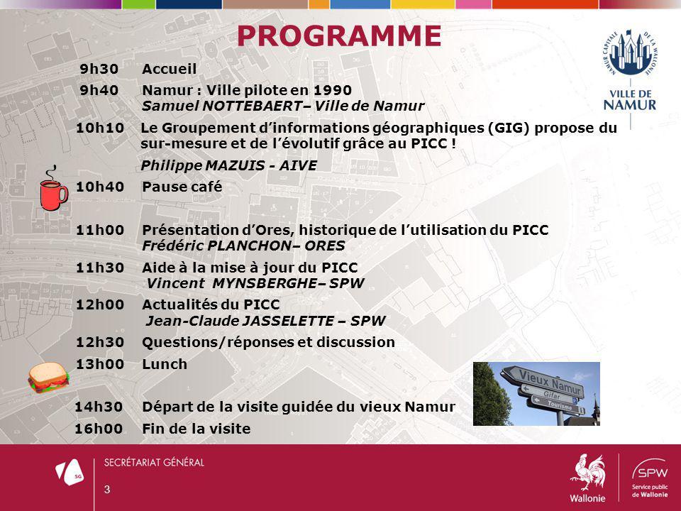 PROGRAMME 9h30 Accueil. 9h40 Namur : Ville pilote en 1990 Samuel NOTTEBAERT– Ville de Namur.