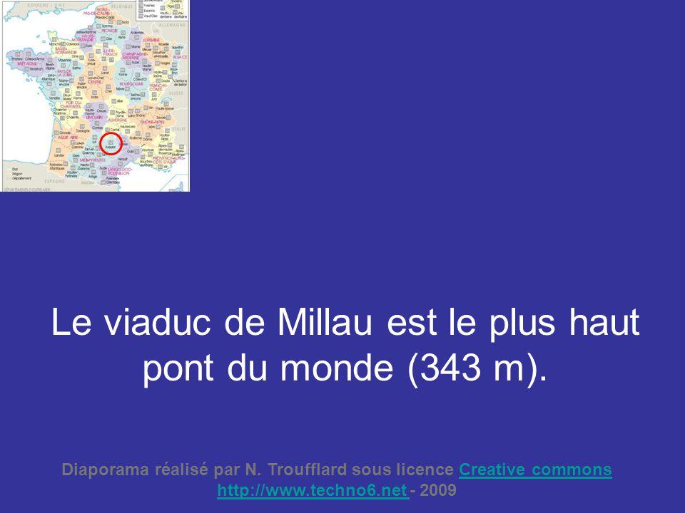 Le viaduc de Millau est le plus haut pont du monde (343 m).