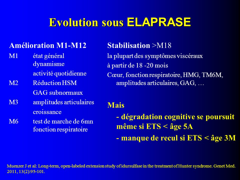 Evolution sous ELAPRASE