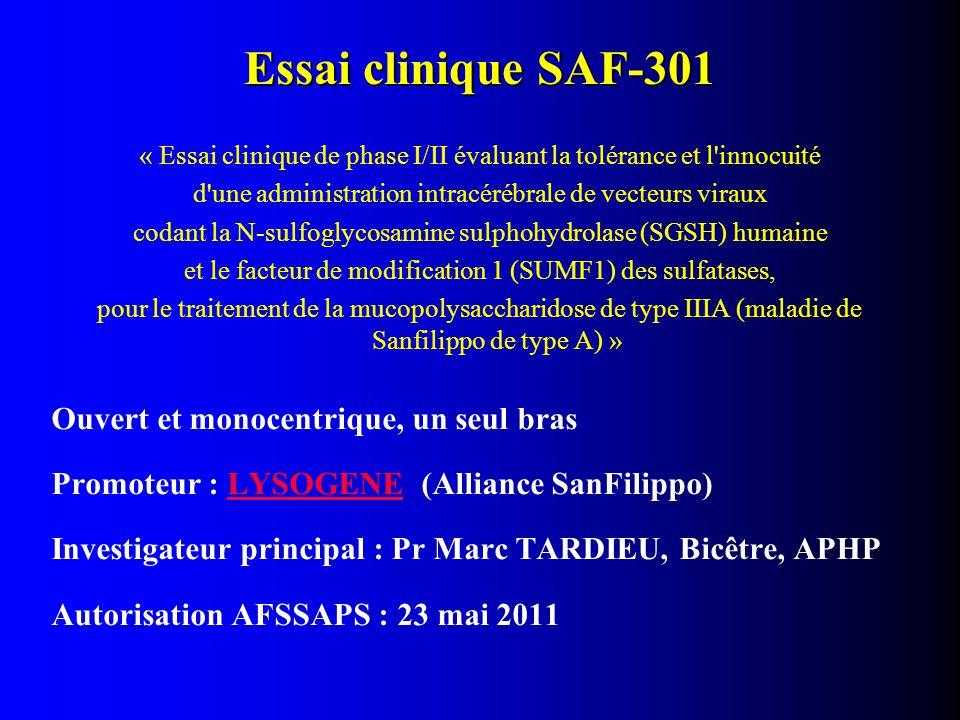 Essai clinique SAF-301 Ouvert et monocentrique, un seul bras