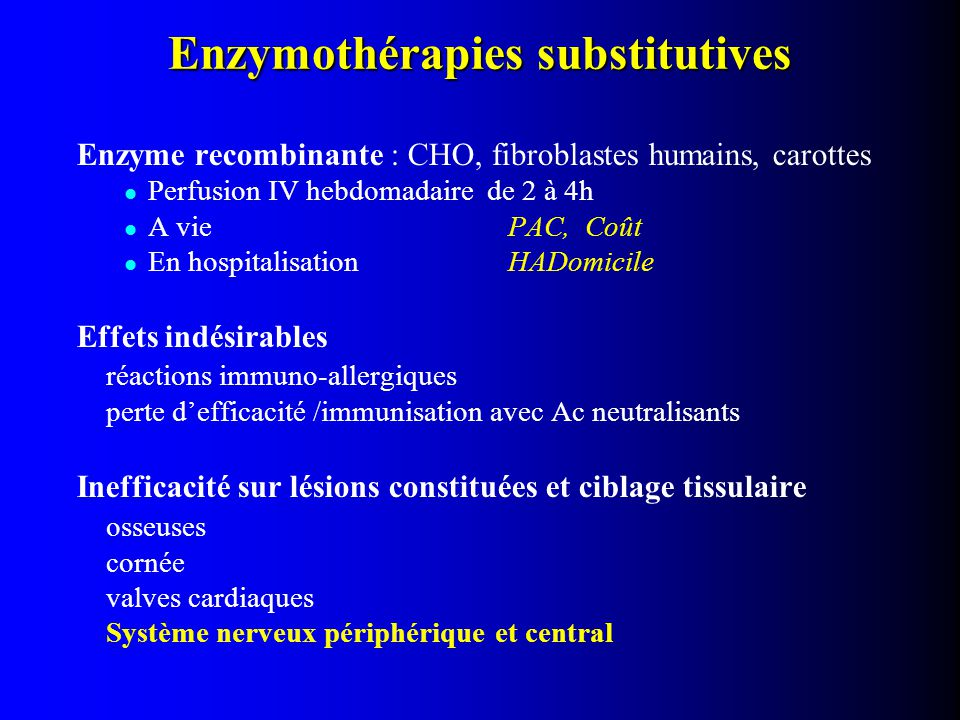 Enzymothérapies substitutives