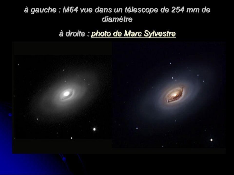 à gauche : M64 vue dans un télescope de 254 mm de diamètre à droite : photo de Marc Sylvestre