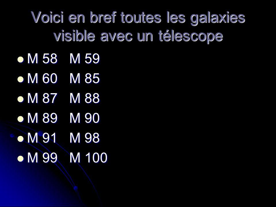 Voici en bref toutes les galaxies visible avec un télescope