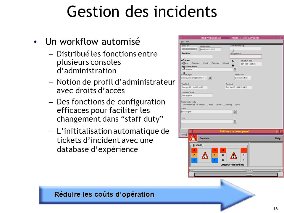 Gestion des incidents Un workflow automisé