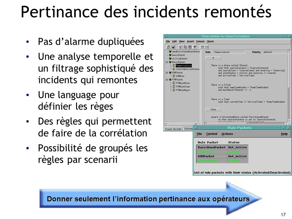 Pertinance des incidents remontés
