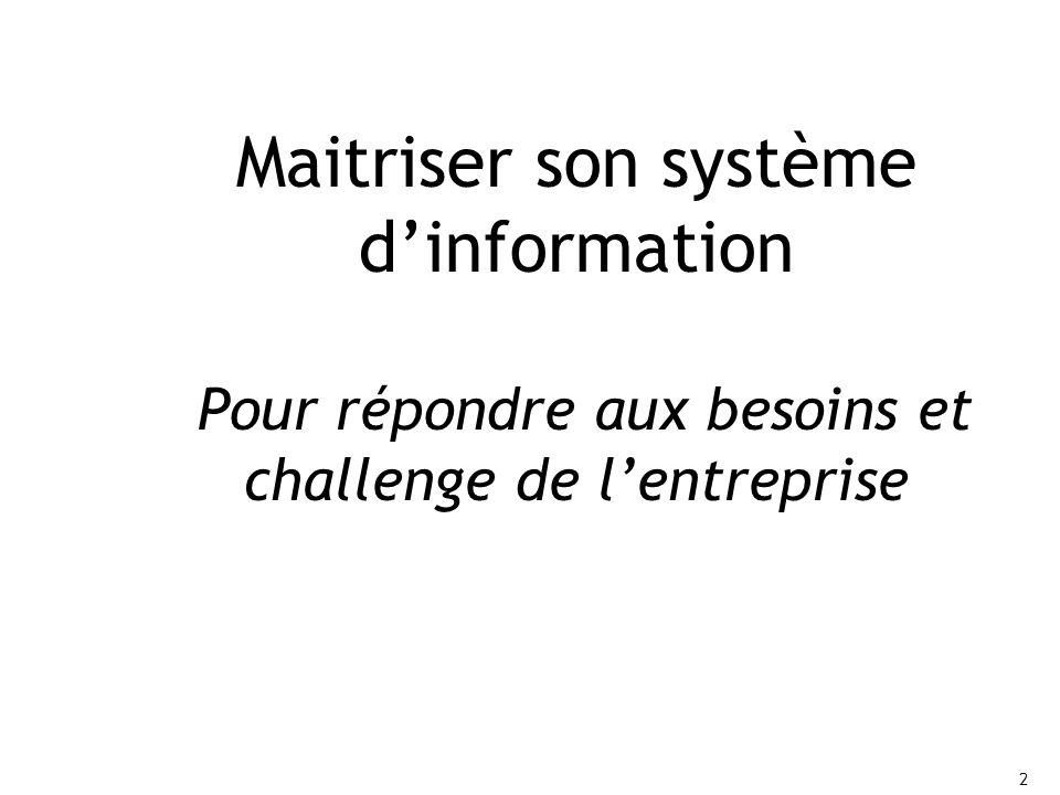 Maitriser son système d'information Pour répondre aux besoins et challenge de l'entreprise