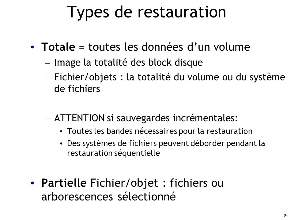 Types de restauration Totale = toutes les données d'un volume