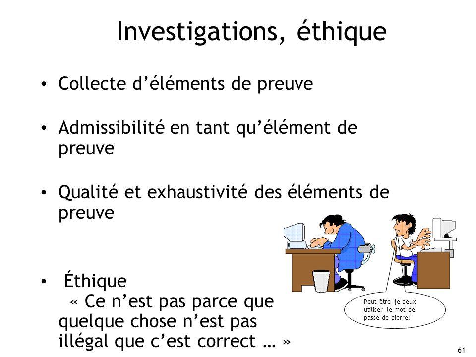 Investigations, éthique
