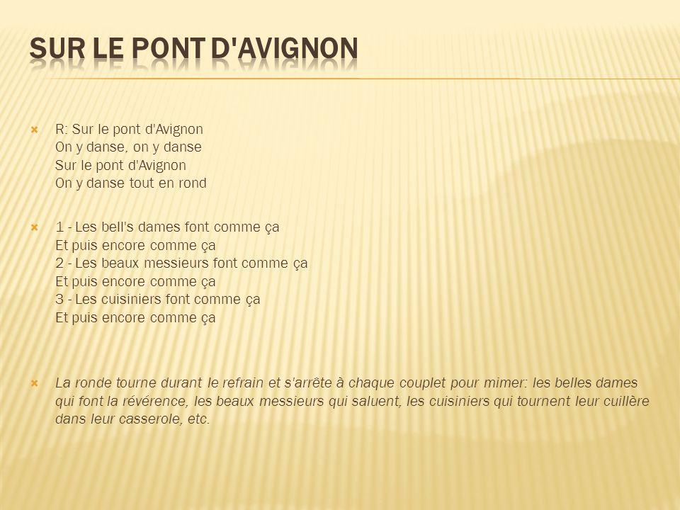 Sur le pont d Avignon R: Sur le pont d Avignon On y danse, on y danse Sur le pont d Avignon On y danse tout en rond.