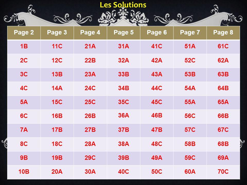 Les Solutions Page 2 Page 3 Page 4 Page 5 Page 6 Page 7 Page 8 1B 11C
