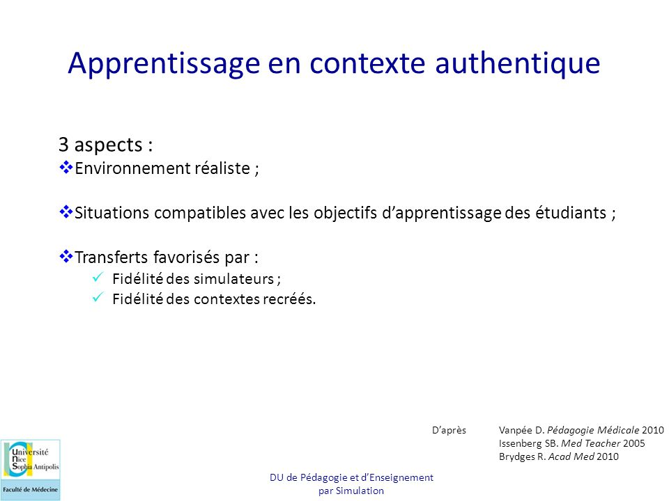 Apprentissage en contexte authentique
