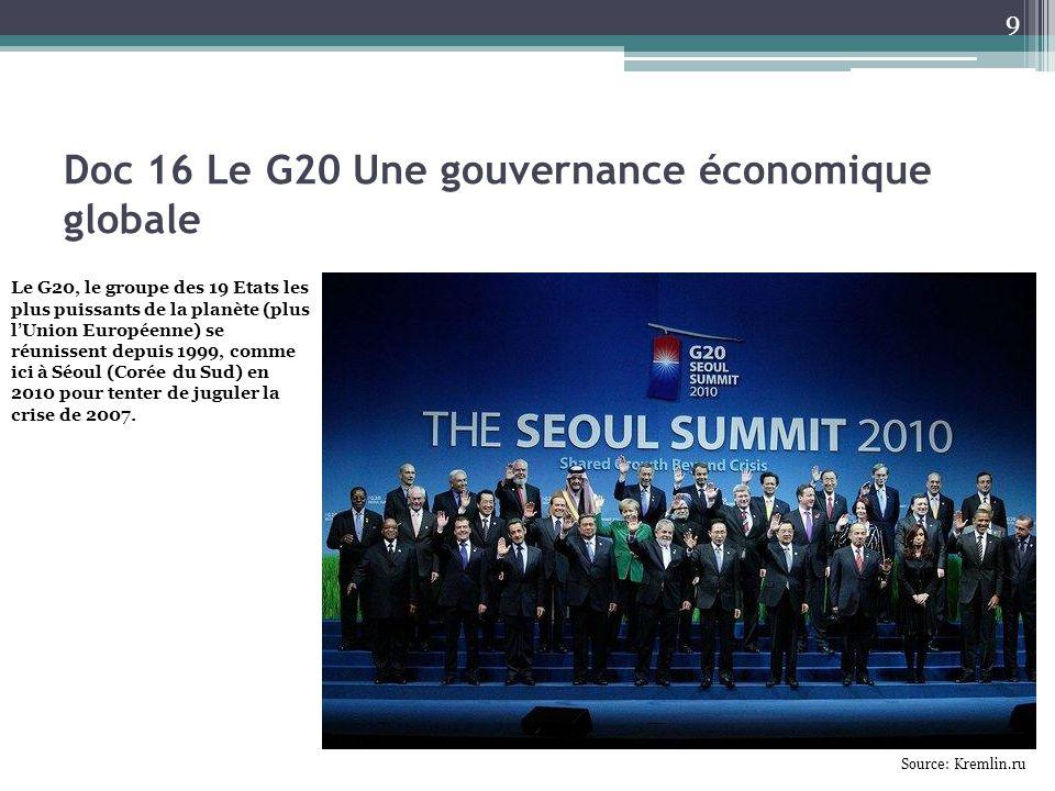 Doc 16 Le G20 Une gouvernance économique globale