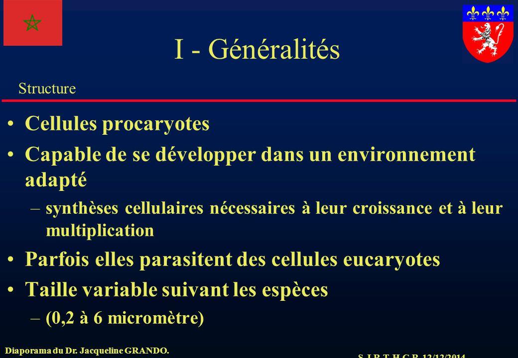 I - Généralités Cellules procaryotes