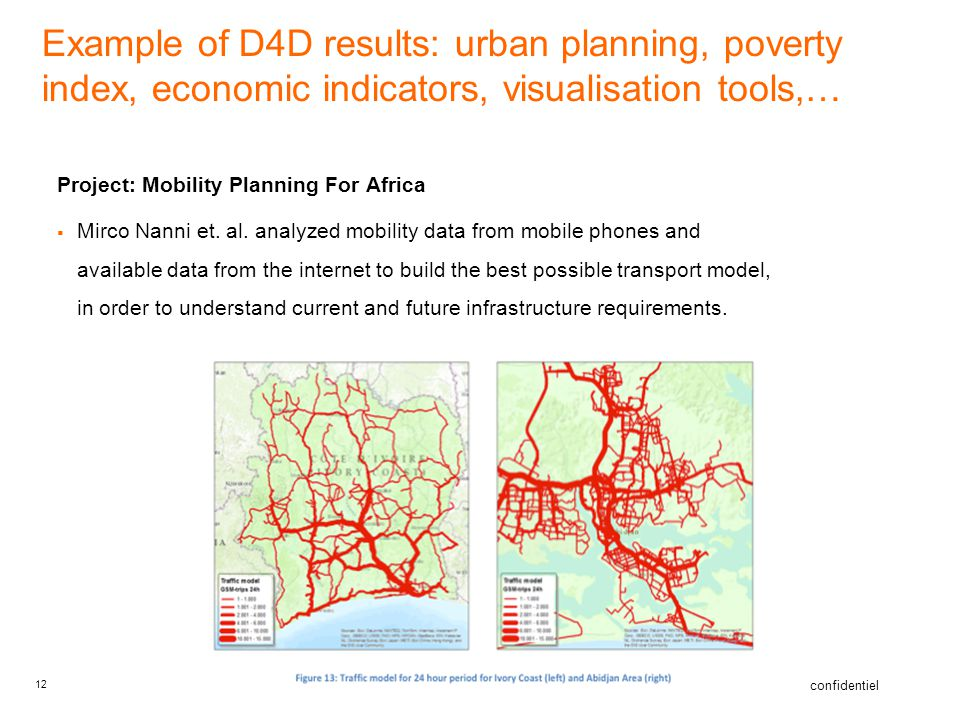 Example of D4D results: urban planning, poverty index, economic indicators, visualisation tools,…