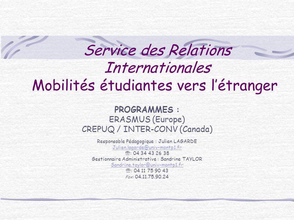 Service des Relations Internationales Mobilités étudiantes vers l'étranger