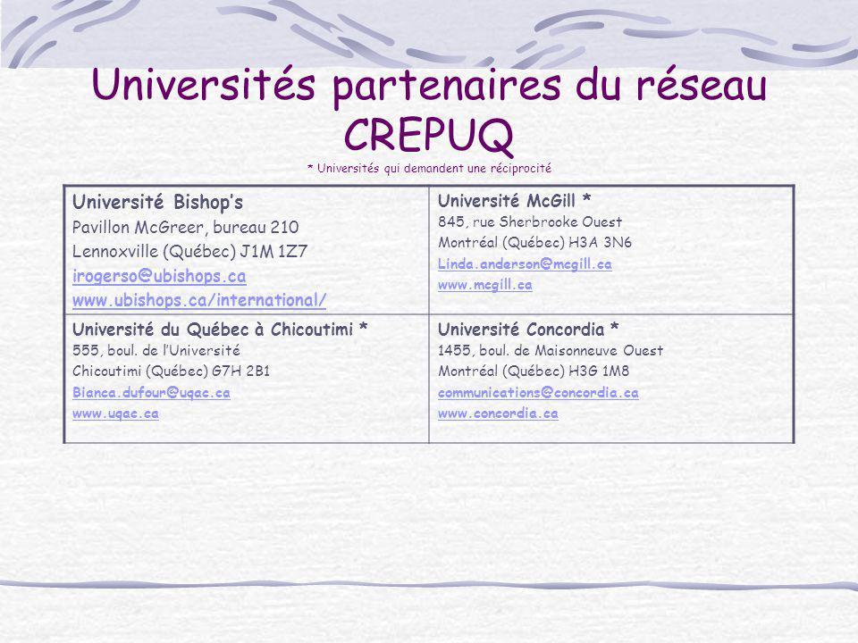 Universités partenaires du réseau CREPUQ