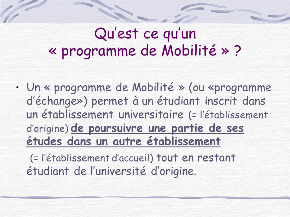 Qu'est ce qu'un « programme de Mobilité »