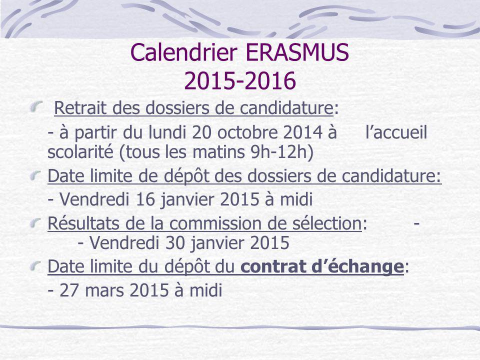 Calendrier ERASMUS 2015-2016 Retrait des dossiers de candidature: