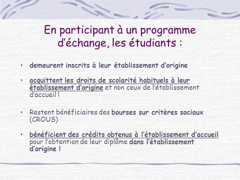 En participant à un programme d'échange, les étudiants :
