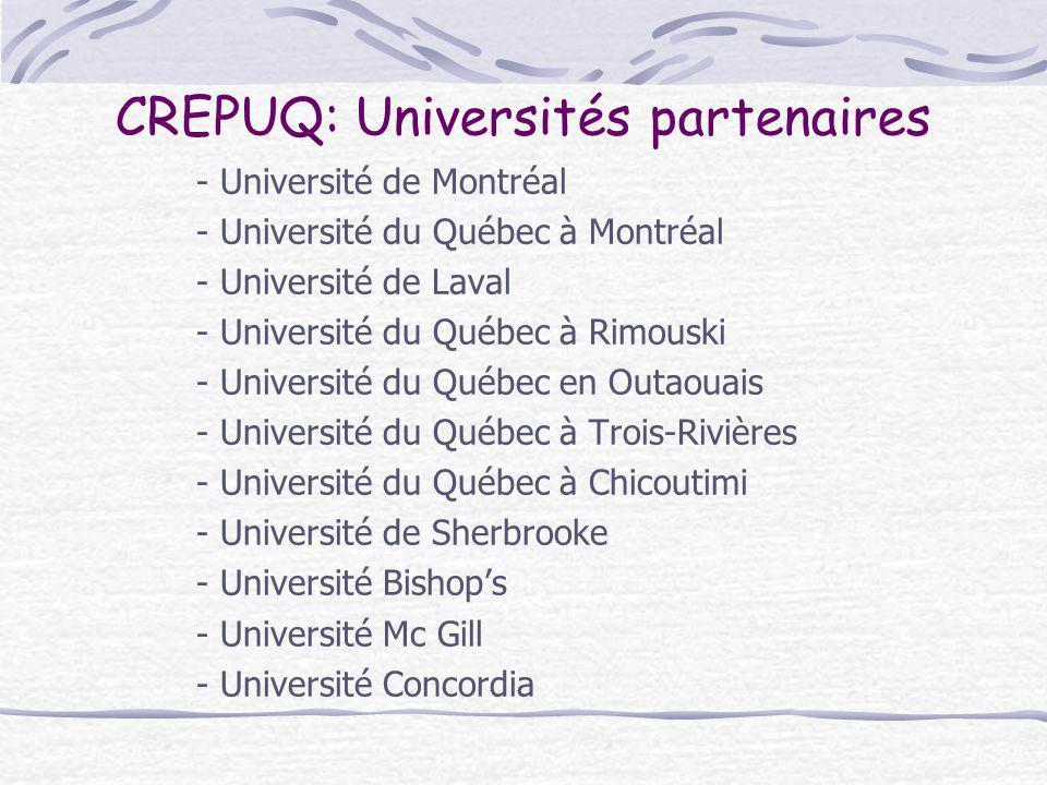 CREPUQ: Universités partenaires