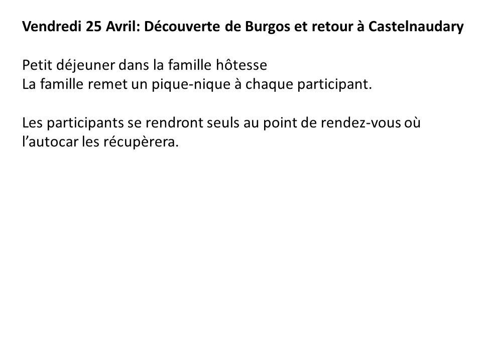 Vendredi 25 Avril: Découverte de Burgos et retour à Castelnaudary