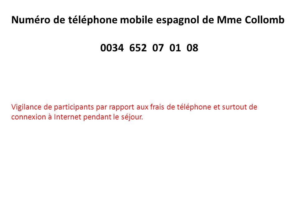 Numéro de téléphone mobile espagnol de Mme Collomb 0034 652 07 01 08