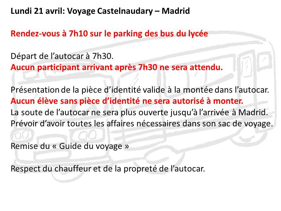 Lundi 21 avril: Voyage Castelnaudary – Madrid