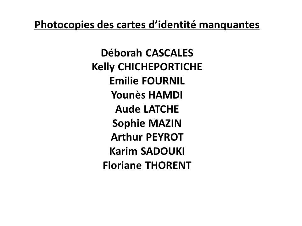 Photocopies des cartes d'identité manquantes