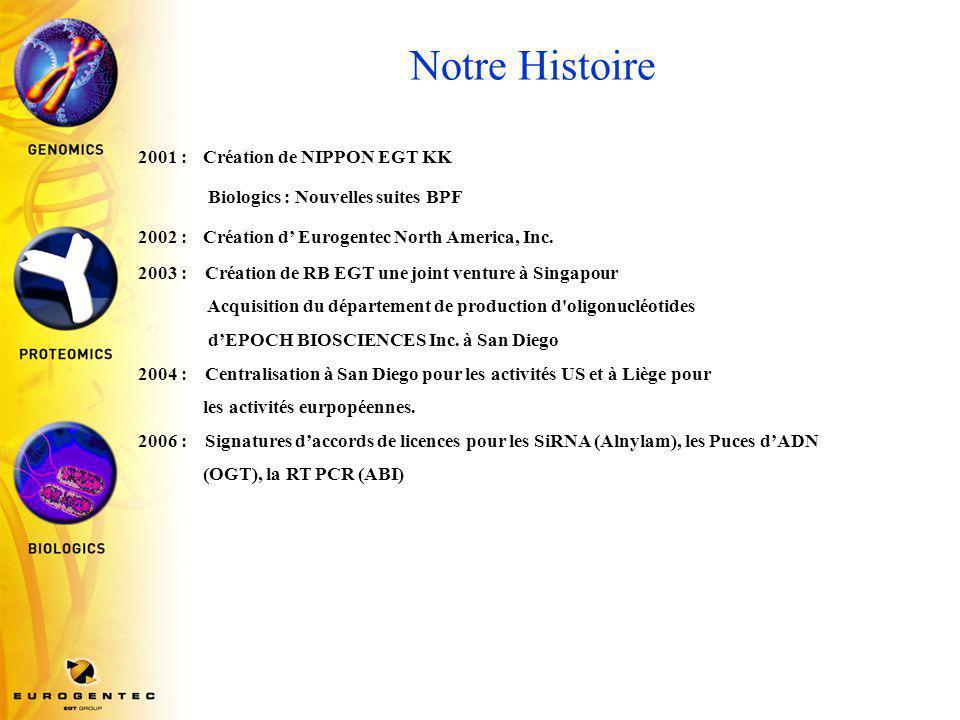 Notre Histoire 2001 : Création de NIPPON EGT KK