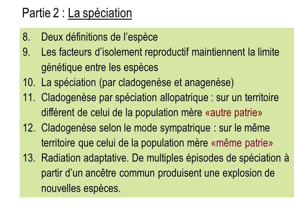 Partie 2 : La spéciation Deux définitions de l'espèce