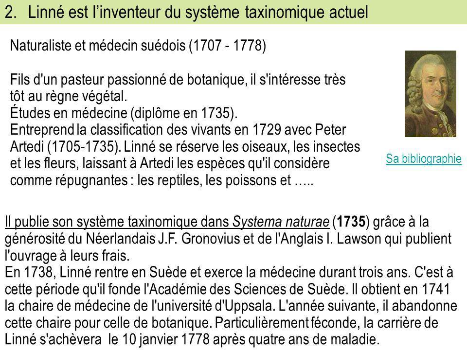 2. Linné est l'inventeur du système taxinomique actuel