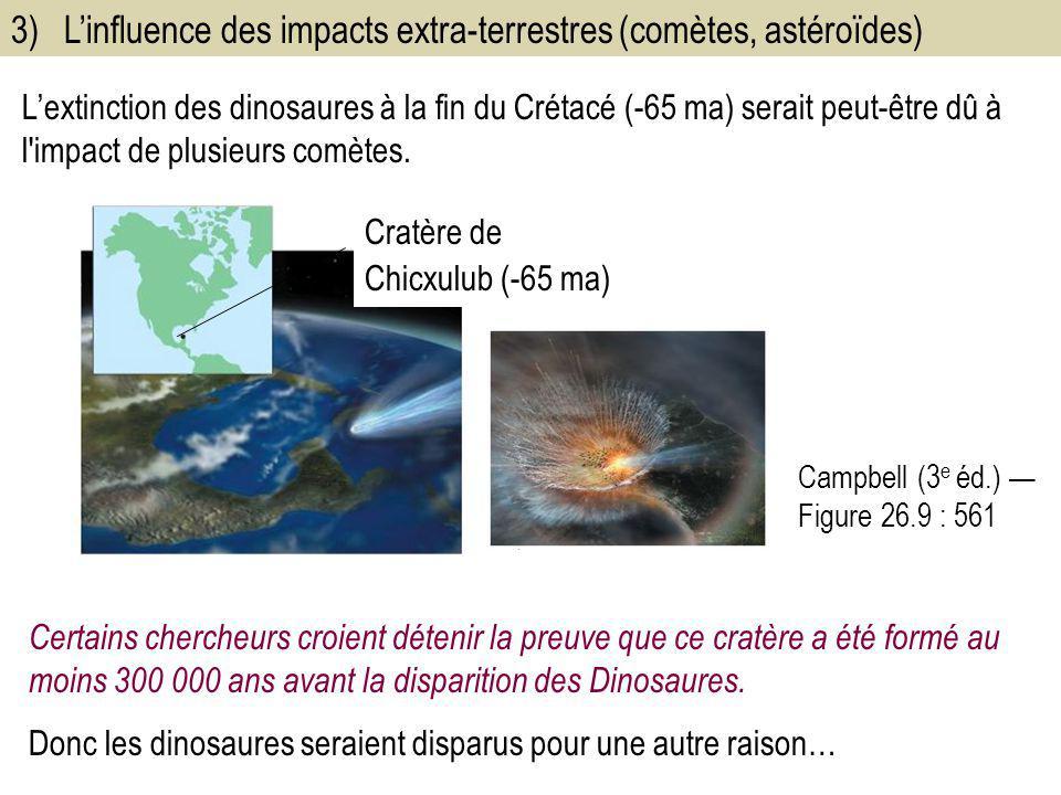 3) L'influence des impacts extra-terrestres (comètes, astéroïdes)