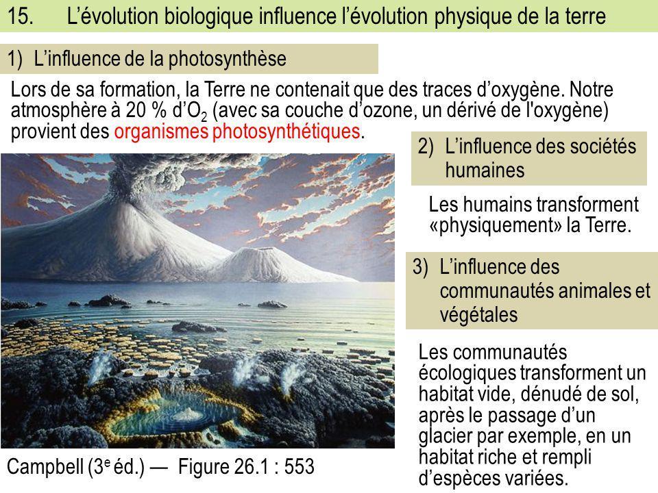 15. L'évolution biologique influence l'évolution physique de la terre