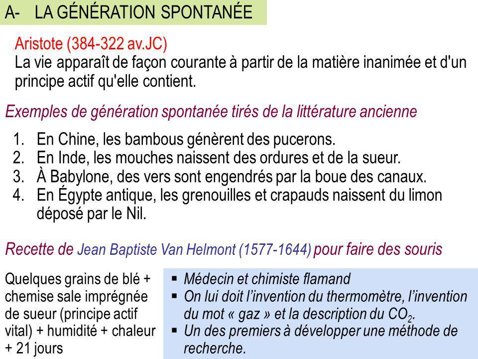 A- LA GÉNÉRATION SPONTANÉE