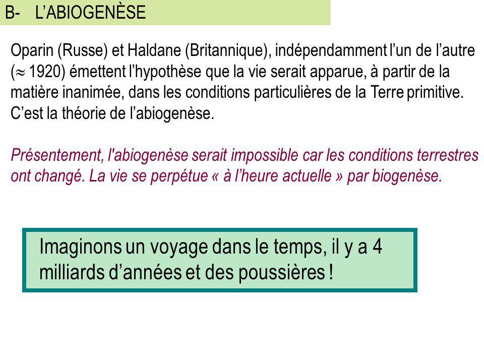 B- L'ABIOGENÈSE