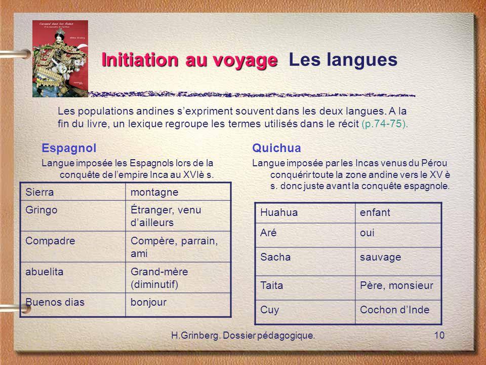 Initiation au voyage Les langues