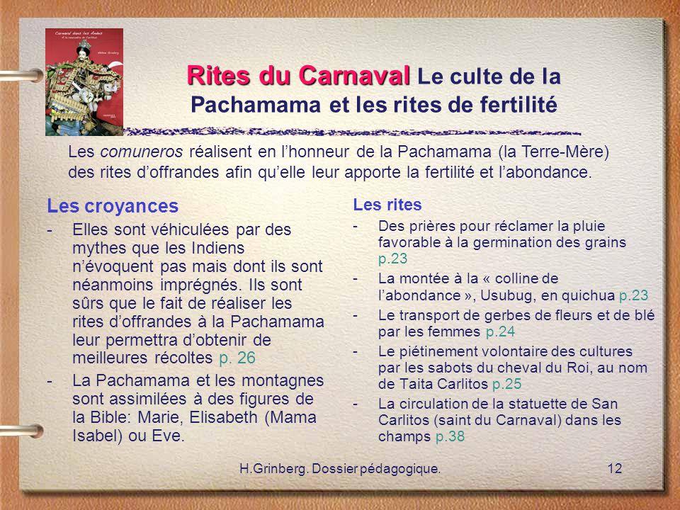 Rites du Carnaval Le culte de la Pachamama et les rites de fertilité