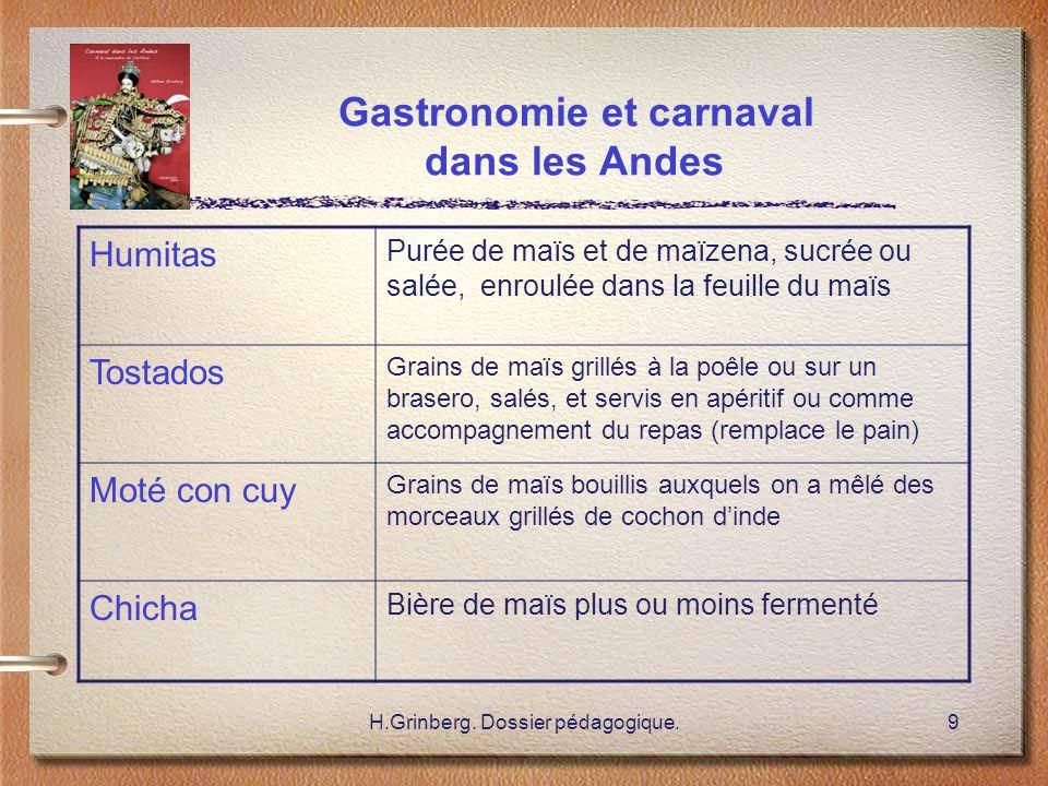 Gastronomie et carnaval dans les Andes